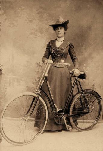 Woman Posing with Bicycle Studio Photo .. Photo Print 5x7 Antique Photo ..