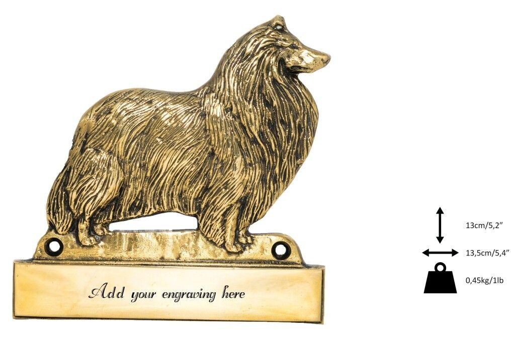 Rough Collie - iscrizione in ottone 'WELCOME', incisore Art Dog IT
