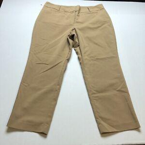 Ann Taylor Curvy Fit Dark Tan Crop Dress Pants Sz 14 A956