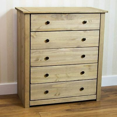 Panama 5 Drawer Chest Furniture Mexican Solid Pine Wood Waxed Rustic Oak Finish