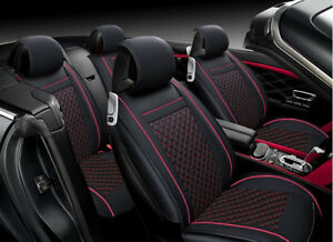 Deluxe Red PU Leather Front Seat Covers Padded For Peugeot 207 307 208 308 508