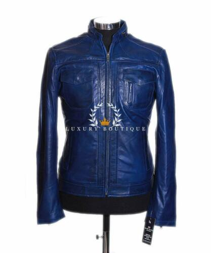 Waxed Men's Designer Real Blue Style Jacket Biker Fashion Lambskin Leather Lee nqxZCYx
