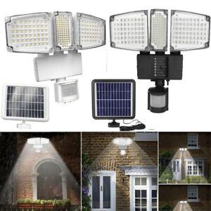 188-DEL-Solaire-10-m-Flood-Light-Wall-Lampe-PIR-Capteur-De-Mouvement-Impermeable-Yard