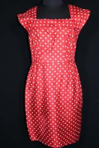 Details about RARE VINTAGE EARLY 1960'S VIVID SILK RED AND WHITE POLKA DOT DRESS SIZE 6 8