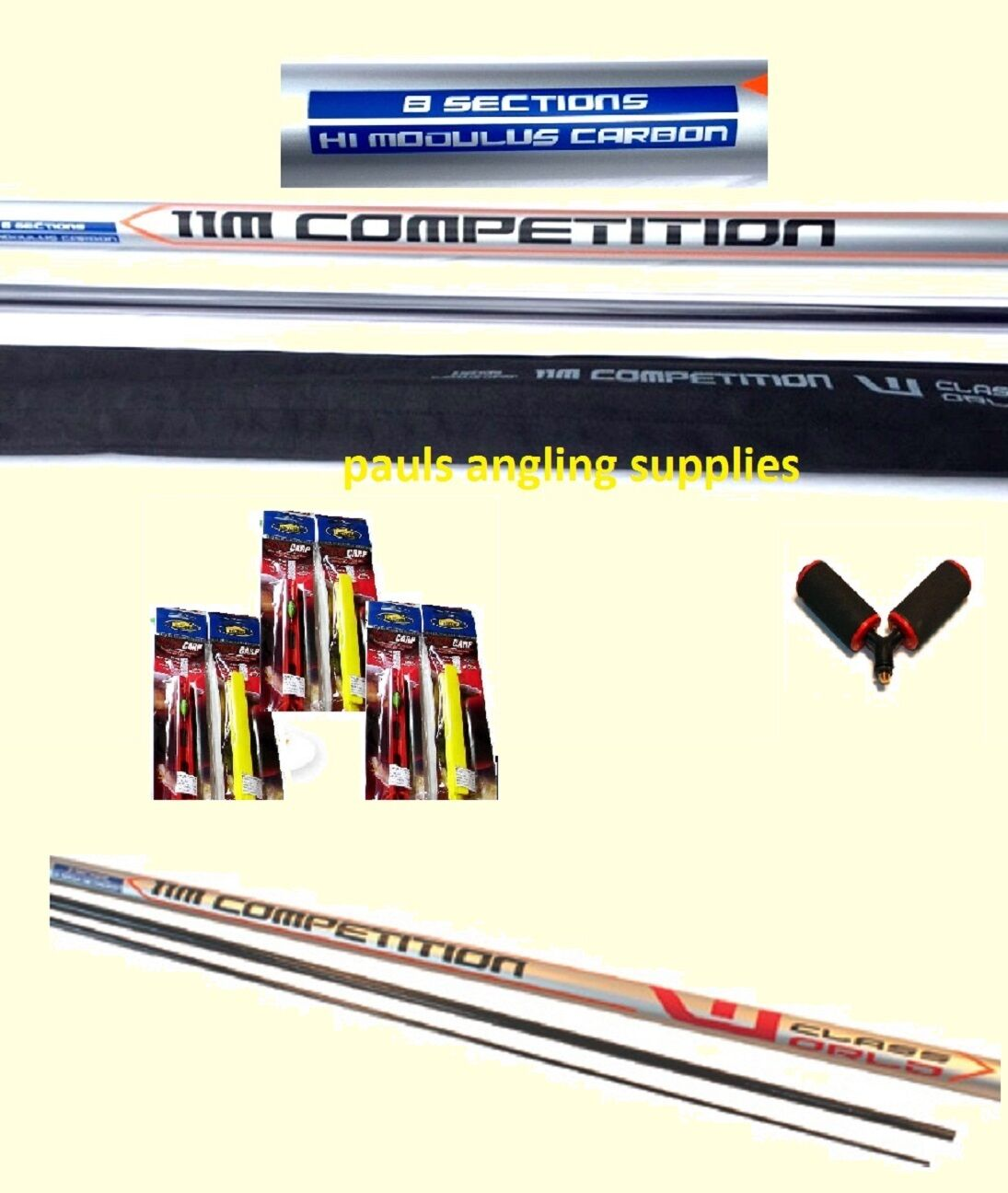 11M Carp Fishing Pole World Class Size 16 ELASTIC FITTED + Roller + Pole Rigs