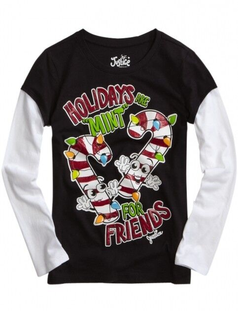 NWT Justice Girls X-Mas Holidays Are MINT For Friends 2Fer Tee U Pick Size NEW