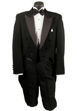 40XL Mens Black Full Dress Peak Tuxedo Tailcoat Tux Tails Formal Costume Theater