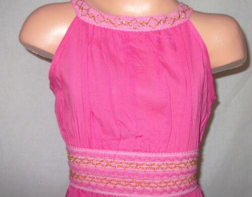 GIRLS CERISE PINK GOLD BRAID TRIM GRECIAN LONG LENGTH MAXI DRESS
