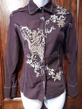 ZOOMPY Paris western embroidered floral tattered artsy shirt top blouse S XS 3C