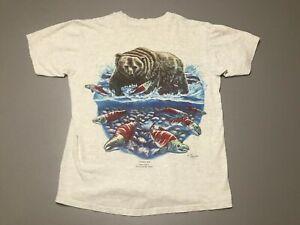 Vintage-90s-BEAR-EATING-SALMON-Environmental-Art-Wear-Gray-T-Shirt-Adult-Size-M