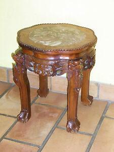 05b106 Ancien Meuble Gueridon Sellette Bois Sculpte Vase Chine
