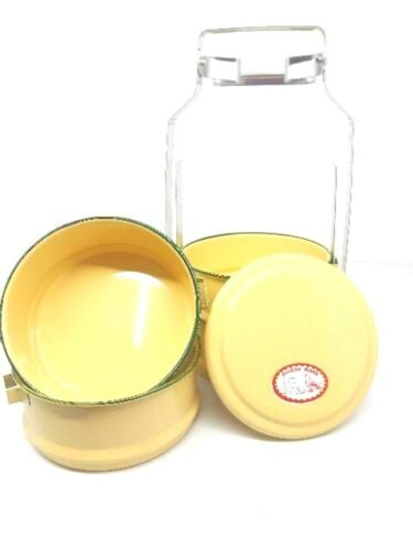 Thai Traditional Enamelware Tiffin Yellow Lunch Box Container Large Pinto food