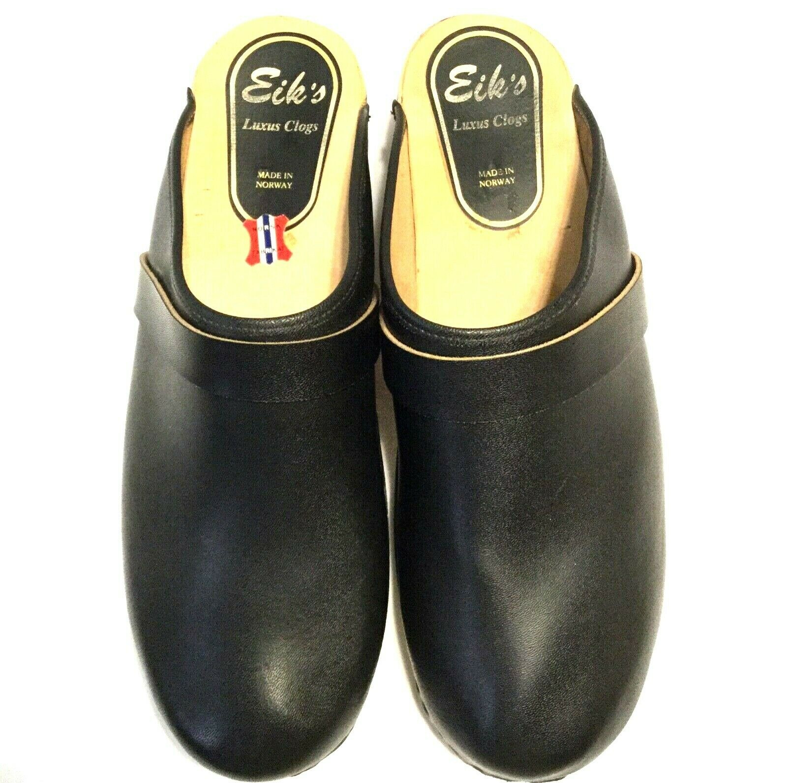 MEN'S SIZE 10 EIK'S LUXUS CLOGS Black Leather Solid Wood Base Made in Norway