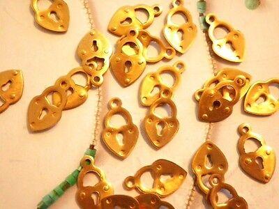 24 PC LOT Vintage Brass 14mm Lock Charms w/ Keyhole & Loop