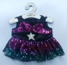 Build-A-Bear Honey Girls Sequin Ombre Star Dress Stuffed Animal Bear Dress, NEW