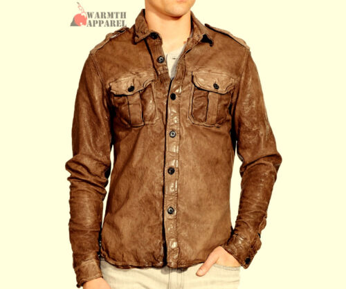 Men Vintage Shirt Waxy Real Soft Genuine Leather Retro Luxury Collection Western