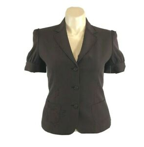 NWT-Gianni-Bini-Large-Blazer-Brown-Claudia-Jacket-Short-Sl-Embroider-Pocket-168