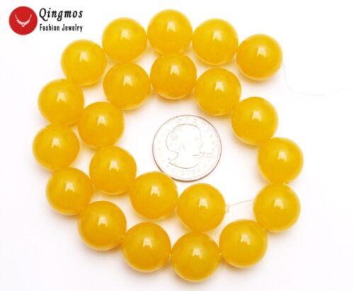 "18mm Natural Round Yellow Jade Loose Beads Jewelry Making DIY Strand 15/"" l678"