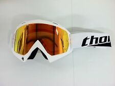 Thor Enemy Adult White w/ Clear & Fire Iridium Lens  MX ATV UTV  Dirtbike Goggle