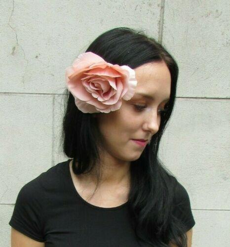 Large Peach Nude Rose Flower Hair Clip Fascinator Floral Grip Vintage Style 0429