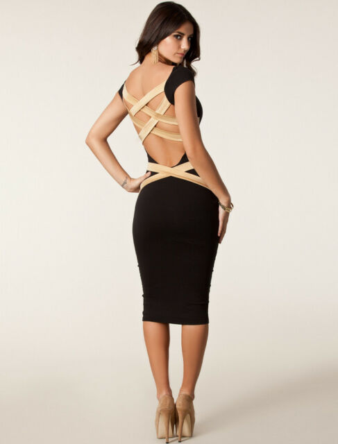 Sexy PLUS SIZE WOMEN Strappy Back MIDI DRESS Party Club Wear Top XL- 12 14 AU