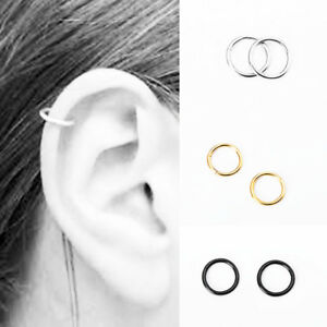 US-2PCS-Stainless-Steel-Piercing-Hoop-Earring-Helix-Nose-Ear-Cartilage-Ring-Gift