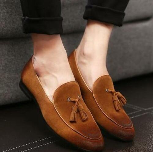 New Mens slip on loafer suede leather dress formal oxford business shoes Hot Sz
