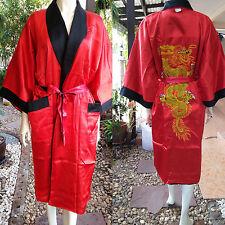 Asia Herren/Damen Wende-Kimono Japan/China Satin Bade-/Morgenmantel Rot Gr. L