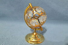 GLOBE LARGE~24K GOLD PLATED FIGURINE WITH BEST~*~AUSTRIAN CRYSTALS~* NEW
