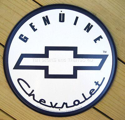 Chevy ROUND TIN SIGN Genuine Chevrolet vtg logo ad metal wall decor garage 798