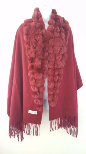 Le donne moda donna 100/% LANA PELLICCIA Pom Pom Invernale Sciarpa Scialle Natale, feste