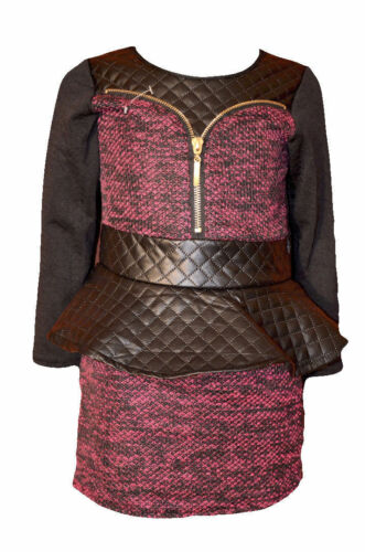 Mädchen Kleid Minikleid Schößlen Langarmkleid 92-116