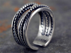 Silberring-Draht-Vintage-Ring-Silber-925-Verstellbar-Offen-Damenringe-Damen