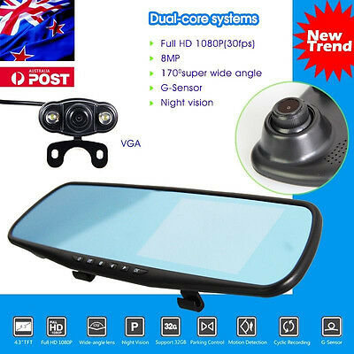 HD 1080P Dash Cam Video Recorder Rearview Mirrors Monitor Car Camera Vehicle DVR