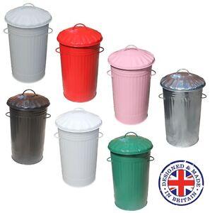 46L Litre Galvanised Metal Kitchen Bin Tall Slim Rubbish Waste ...