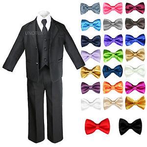 New Baby Toddler Boys Black Formal Wedding Suits Tuxedo w/ Extra Bow Tie sz S-7