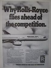 11/1982 PUB ROLLS-ROYCE RB211-535 AERO ENGINES BOEING 757 AIRLINER ORIGINAL AD