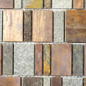 Das Bild Wird Geladen Kupfermosaik Naturstein Braun Grau Kueche WC Bad Wand