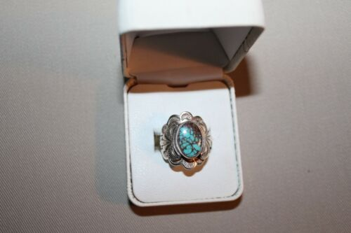 Turquoise and Mexican Silver Ring Stamped Sterling