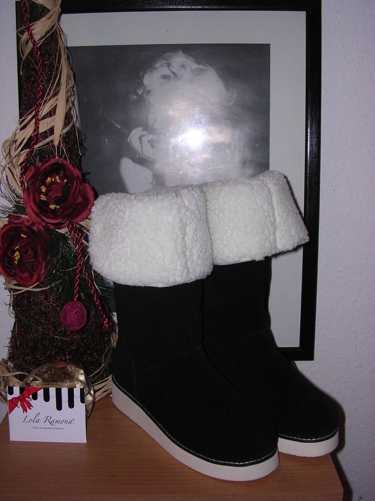 LOLA RAMONA STIEFEL ECHTES LAMMFELL SAMTLEDER 38 NEU ELEGANCE WARM EDEL
