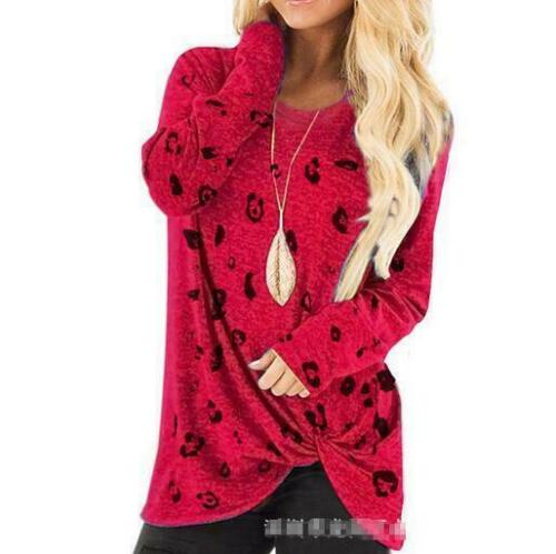 Women Casual Sweatshirt  Autumn Blouse Long Sleeve Shirt Twisted V Neck Tops New