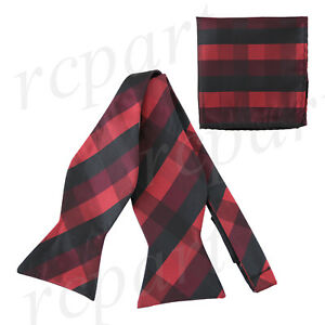 New-in-box-Brand-Q-Men-039-s-Self-tied-Bow-Tie-amp-Hankie-Squares-Checkers-Black-Red