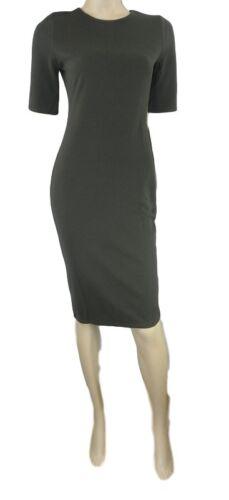 Dorothy Perkins Khaki Green Stretchy Bodycon Dress with Short Sleeves