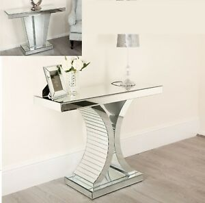Mirrored-Console-Hallway-Side-Table-Silver-Mirror-Modern-Chic-Furniture-Glass