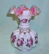 "Fenton CHARLETON 6"" Pink Cased Melon Ruffled Vase Hand Painted Roses"