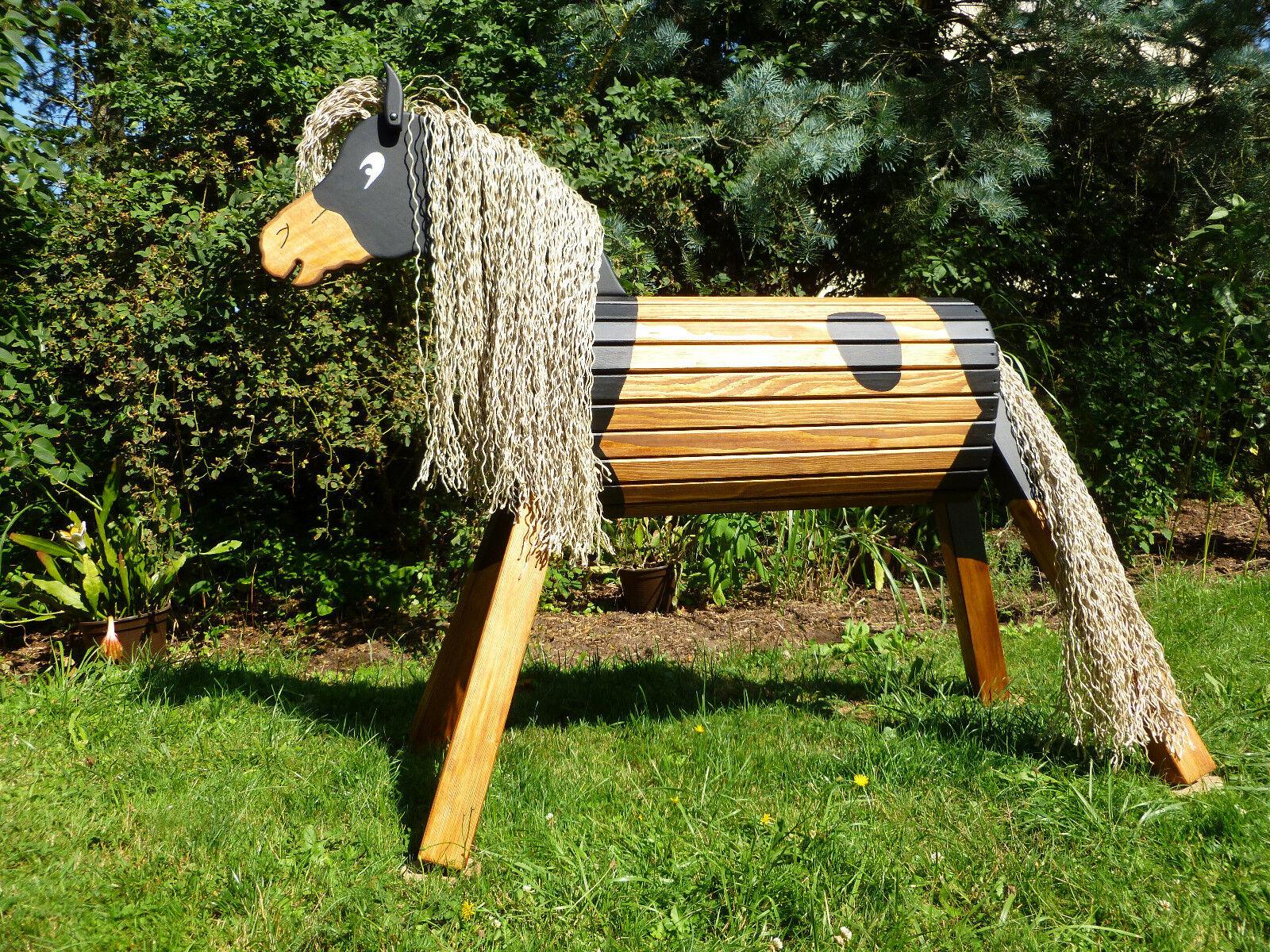 80cm Holzpferd Donner Holzpony Voltigierpferd Spielpferd Pferd  wetterfest NEU