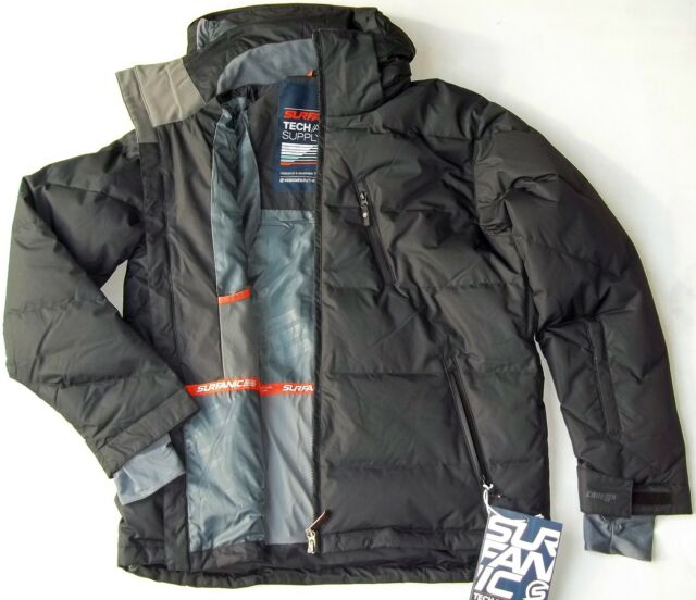 SURFANIC MENS SMALL PLUME SKI SNOWBOARD PUFFA JACKET 80% DOWN FILLING BLACK