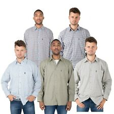 Mens Check Hazy Blue Shirts Country Outdoor Work Casual Long Sleeved PollyCotton
