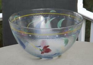 NWT-Lenox-11-034-Poppies-On-Blue-Glass-Serving-Bowl-Hand-Painted-Italy