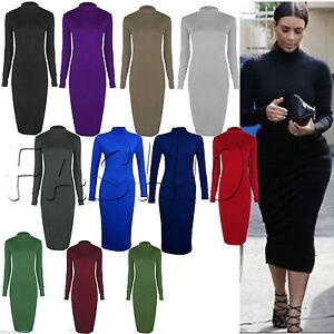 Women Ladies Polo Turtle Neck Long Sleeve Plain Stretch Bodycon Midi Dress Plus